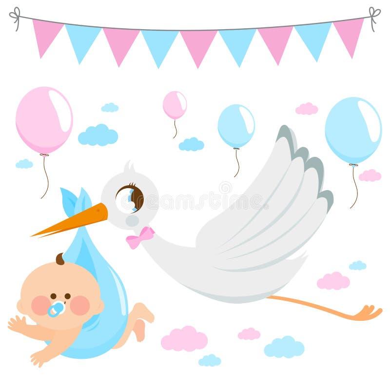 Cigogne livrant un nouveau bébé Collection de vecteur illustration libre de droits