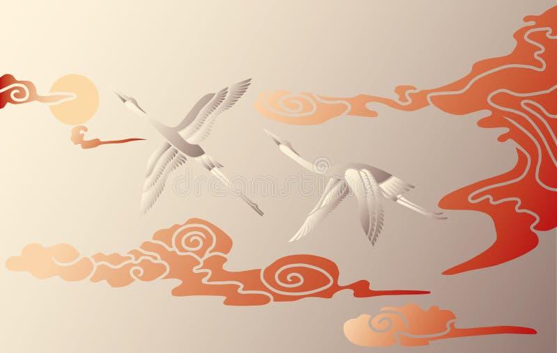 Cigognes dans le ciel illustration libre de droits
