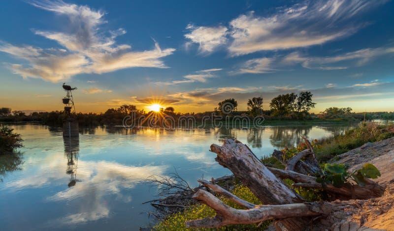 Cigognes de coucher du soleil et la rivi?re photographie stock libre de droits