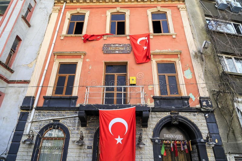 Cihangir district of Beyoglu, Istanbul. Istanbul, Turkey - May 13, 2017: Generic architecture in Cihangir, Beyoglu, Istanbul. Abandoned building of Sahra, famous stock images