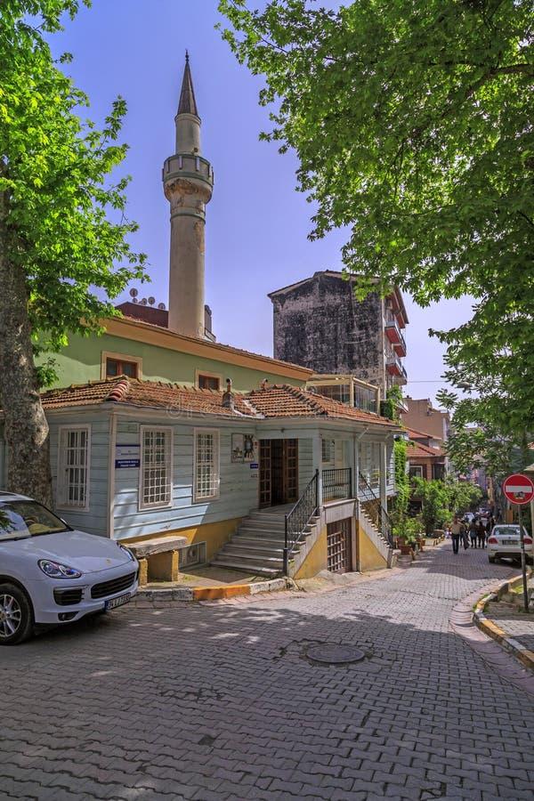 Cihangir district of Beyoglu, Istanbul. Istanbul, Turkey - May 13, 2017: Generic architecture in Cihangir, Beyoglu, Istanbul. Muhyiddin Molla Fenari Mosque in stock photography