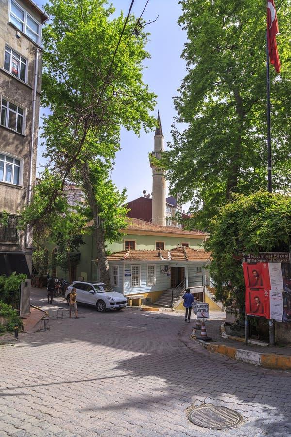 Cihangir district of Beyoglu, Istanbul. Istanbul, Turkey - May 13, 2017: Generic architecture in Cihangir, Beyoglu, Istanbul. Muhyiddin Molla Fenari Mosque in royalty free stock photos