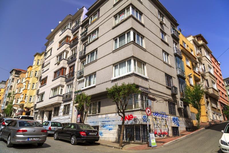 Cihangir district of Beyoglu, Istanbul. Istanbul, Turkey - May 13, 2017: Generic architecture in Cihangir, Beyoglu, Istanbul. Cihangir is a popular central royalty free stock photo
