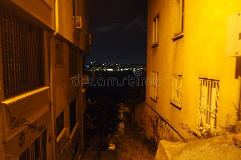 Cihangir istanbul city life night urban street stock image