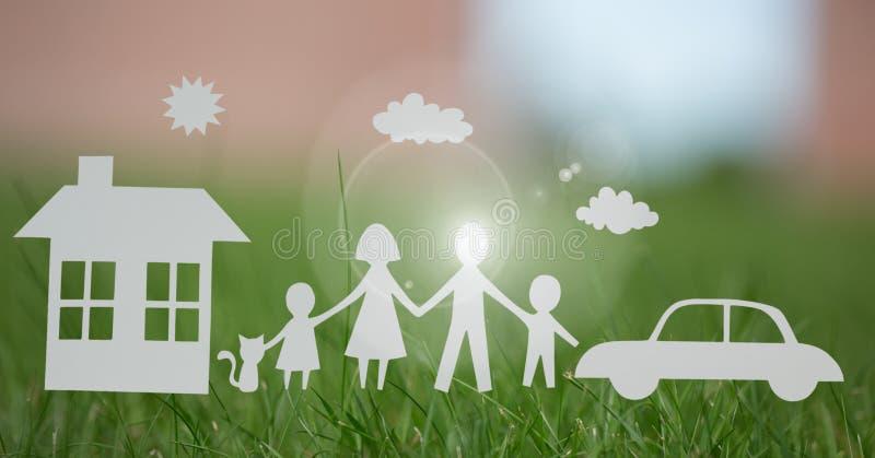 Ciie out domowej rodziny i samochodu na trawie fotografia royalty free