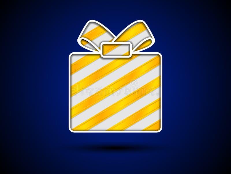 Ciie out prezenta pudełko z złotymi faborkami royalty ilustracja