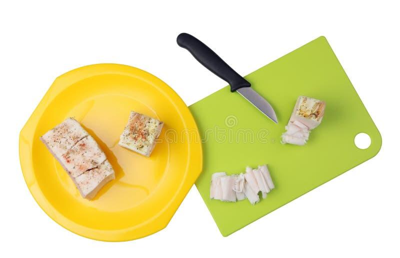Ciie zamarzniętą słoną wieprzowiny okrasę w cienkich plasterki dla kanapki z obraz stock