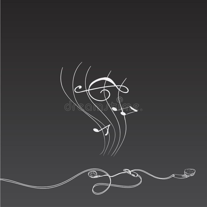 Cijfer het liggen hoofdtelefoon met muziek, stijlkrijt op een bord vector illustratie