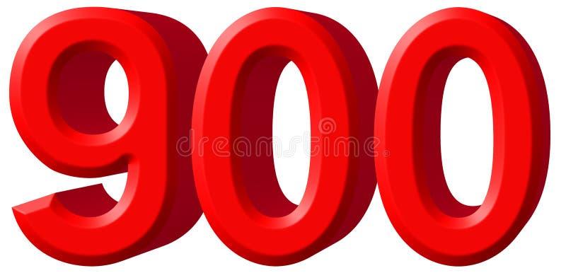 Cijfer 900 Negenhonderd Gesoleerd Op Witte 3d Achtergrond Trekt