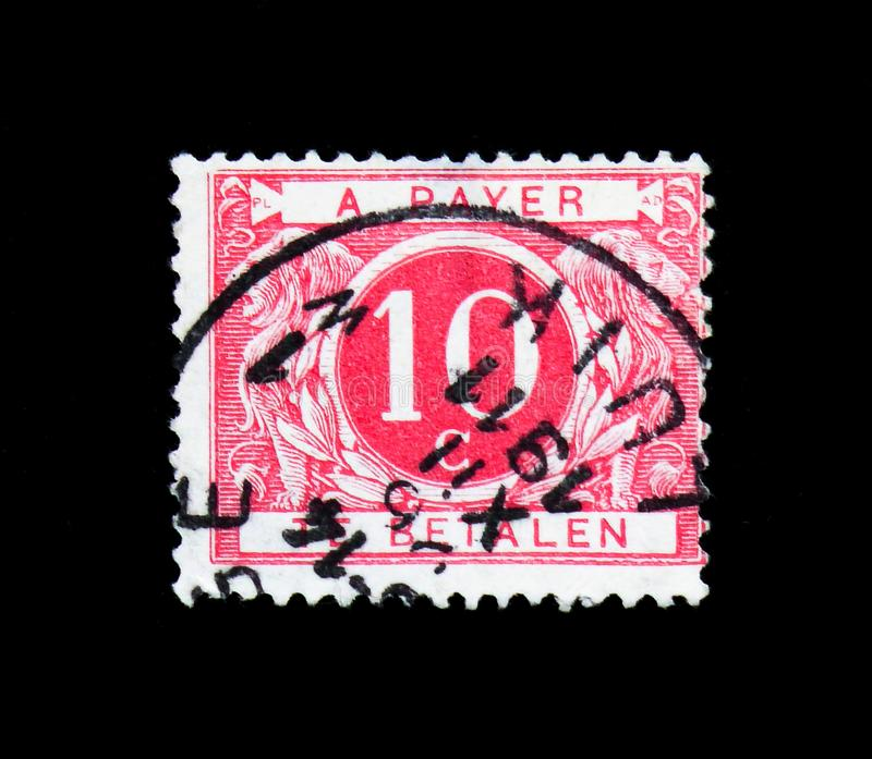 Cijfer, Postage Due - Coloured Circle serie, circa 1895. MOSCOW, RUSSIA - APRIL 15, 2018: A stamp printed in Belgium shows Cijfer, Postage Due - Coloured Circle royalty free stock photo