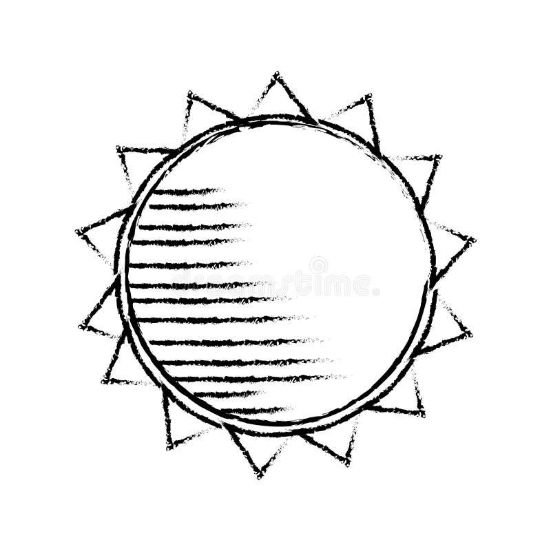 Cijfer van de silhouet het schets vage zon royalty-vrije illustratie