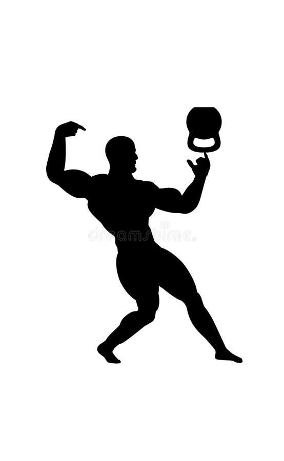 Cijfer van een stellende bodybuilderatleet die zijn spieren en trucsaldo tonen kettlebell Vector illustratie stock illustratie