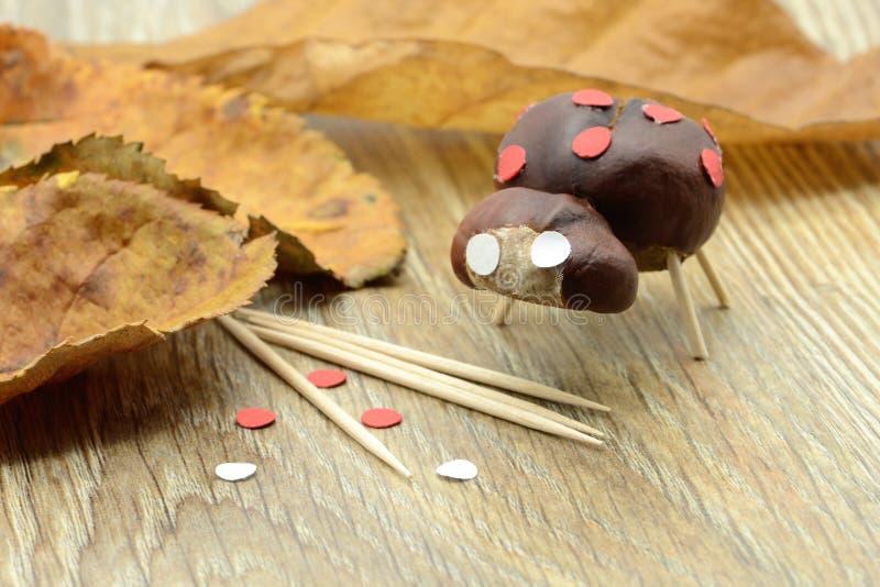 Cijfer van het blikslagers het kleine die lieveheersbeestje van kastanje en tandenstokken wordt gemaakt stock afbeeldingen