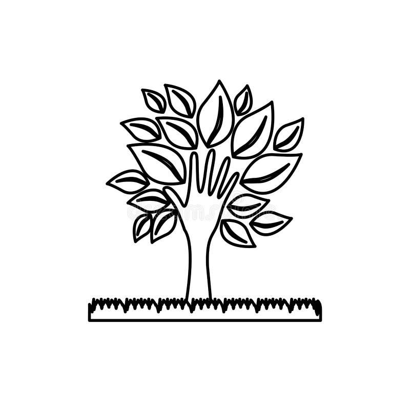 cijferboom met bladeren en graspictogram stock illustratie