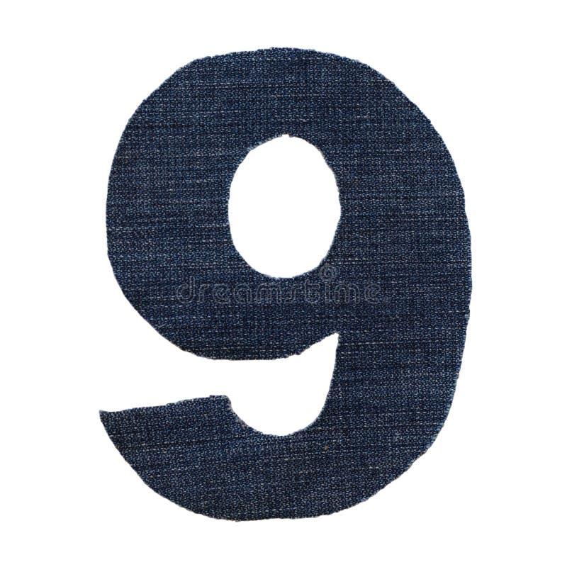 Cijferdenim nummer negen stock afbeelding