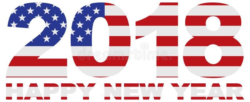 2018 cijfers met Amerikaanse de Vlag vectorillustratie van de V.S. stock illustratie