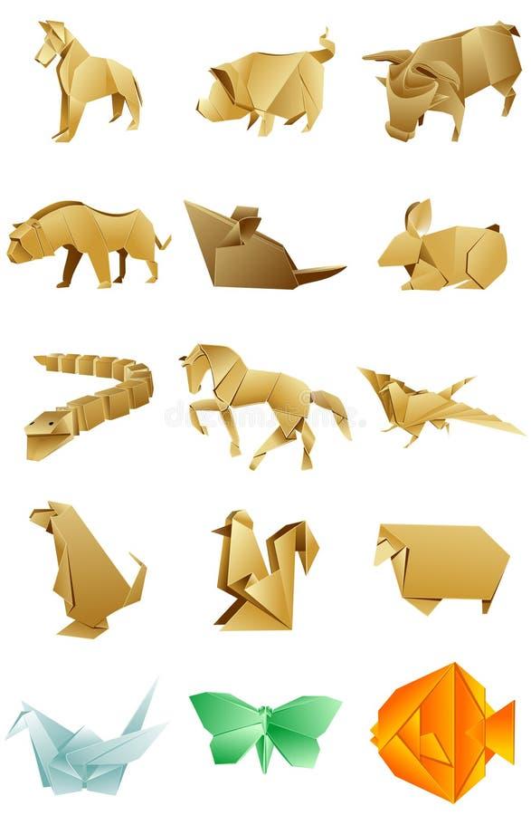 Cijfers van dierenorigami op witte achtergrond worden geplaatst die royalty-vrije illustratie