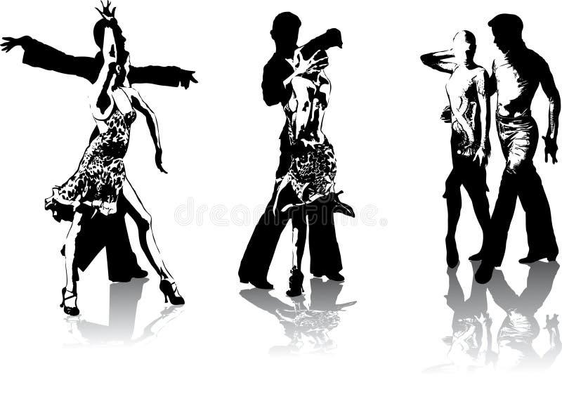 Cijfers van Latijns-Amerikaanse dansers vector illustratie
