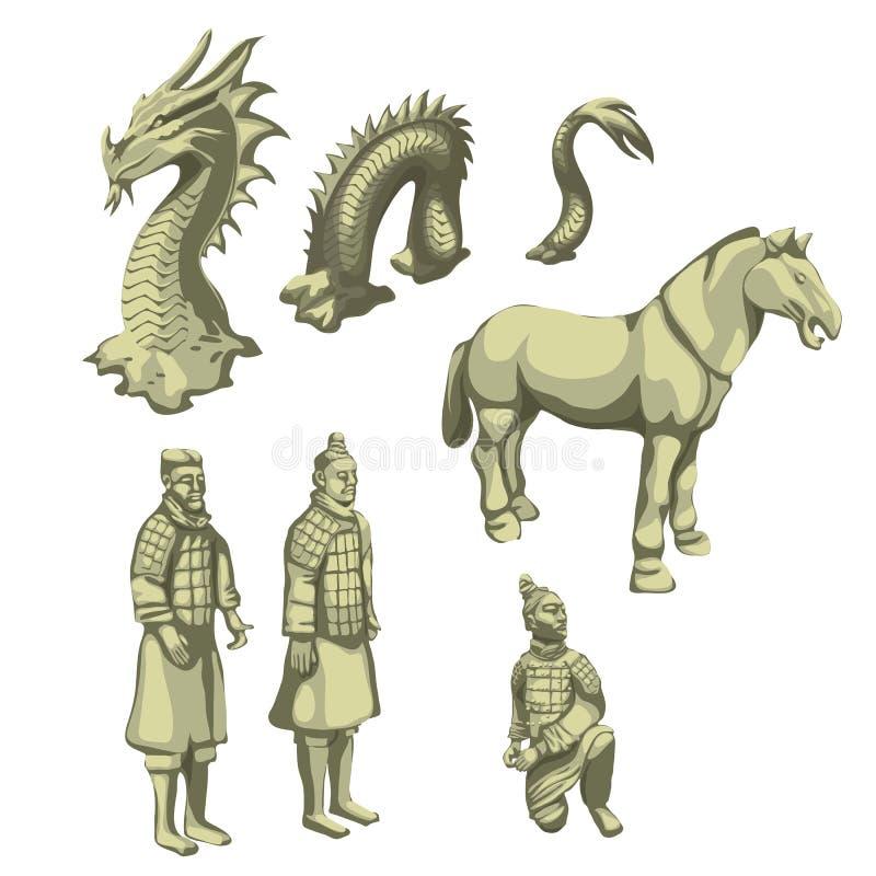 Cijfers van samoeraien, paard en serpent, grote reeks royalty-vrije illustratie