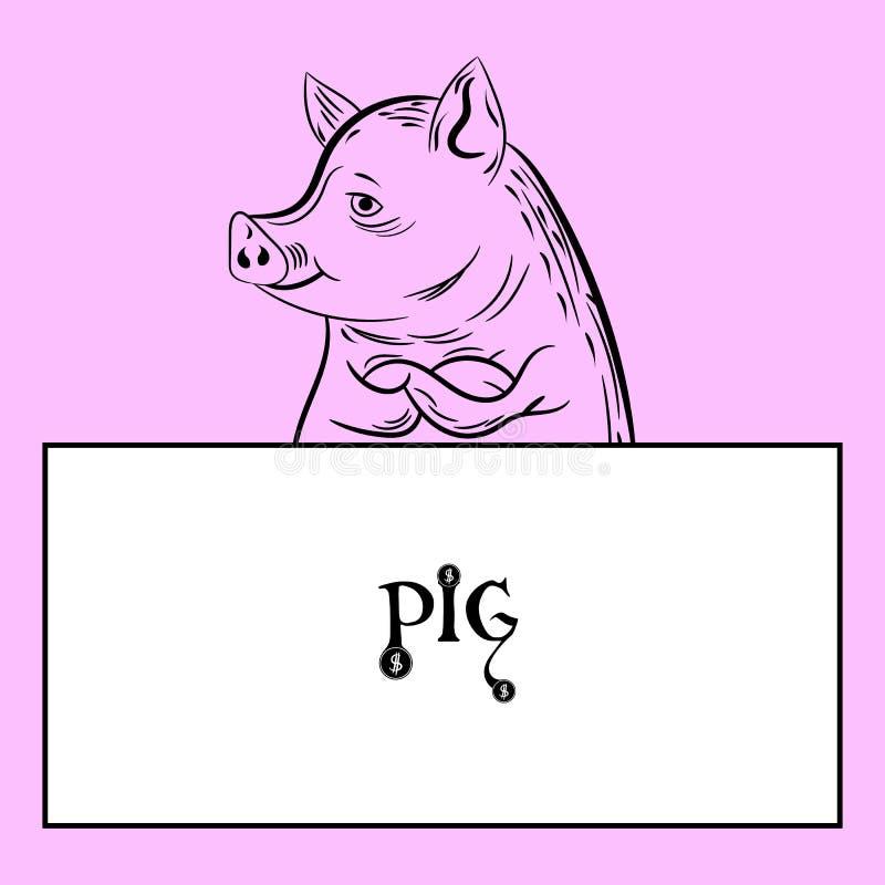 Cijfervarken en leeg wit kader voor verslagen, karakter op een speld vector illustratie
