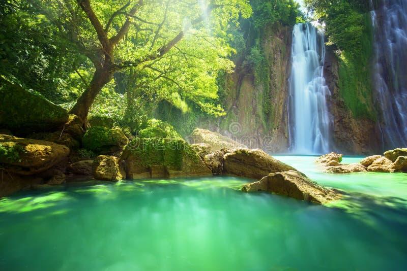Cikaso waterfall hidden in the tropical jungle stock photography