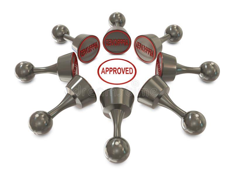 Cilíndrico preto dos Stampers no grupo com aprovado ilustração do vetor