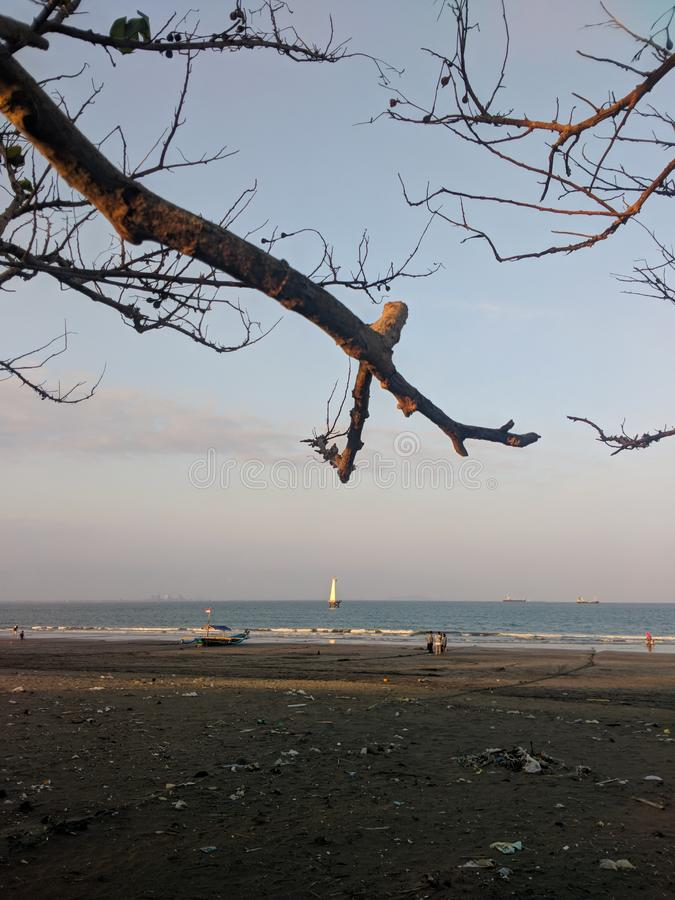 Waiting For Sunset At Teluk Penyu Beach Cilacap. Cilacap, Indonesia - July 21, 2019 : Teluk Penyu Beach Cilacap Central Java Indonesia royalty free stock images