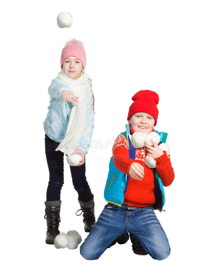 Cildren playing in the snow royalty free stock photos