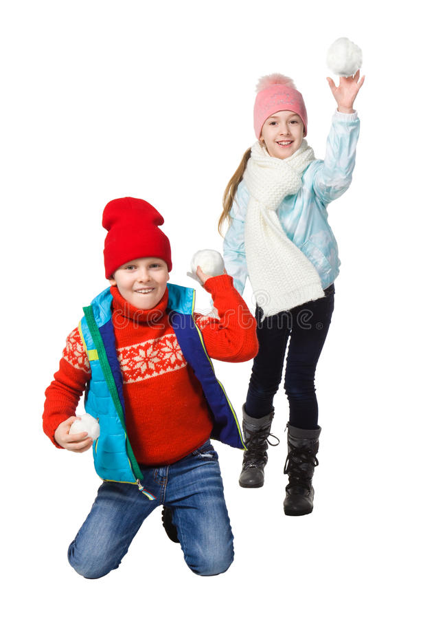Cildren playing in the snow royalty free stock photography