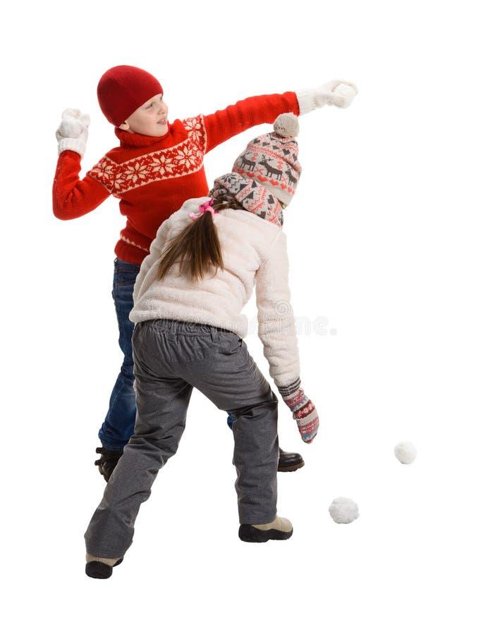 Cildren que joga na neve fotografia de stock royalty free