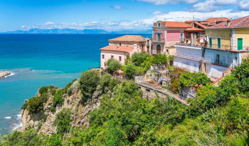 Scenic view in Agropoli with the sea in the background. Cilento, Campania, southern Italy. Cilento is an Italian geographical region of Campania in the central stock image