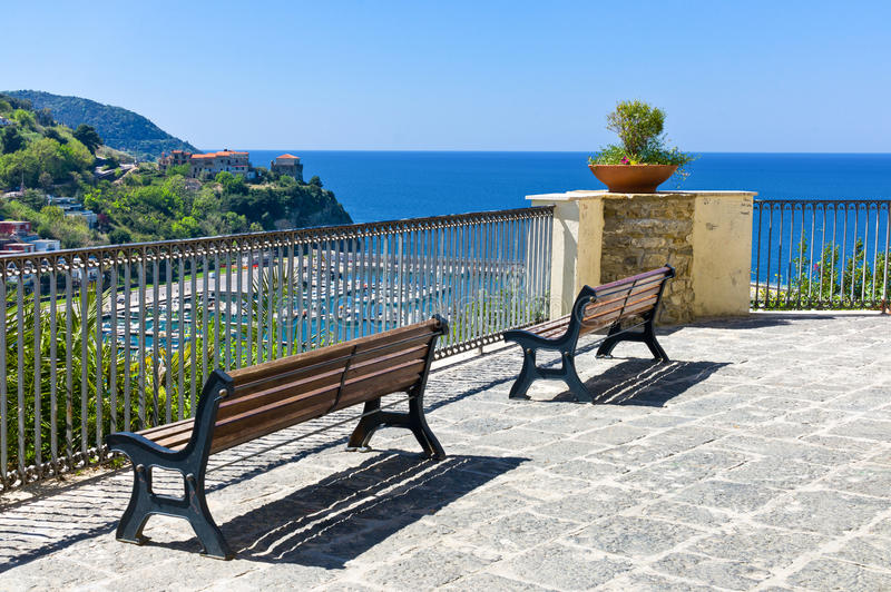 Cilento. Italy,Cilento, Agropoli, the belvedere over the harbor royalty free stock image