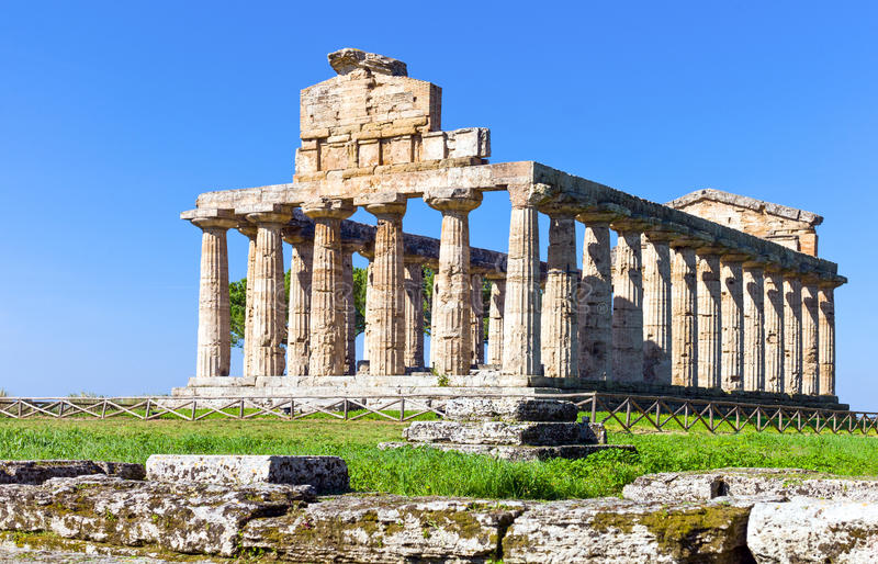 Cilento. Italy,Cilento, archaeological site of Paestum, the Temple of Athena olso known as Cerere Temple stock photo