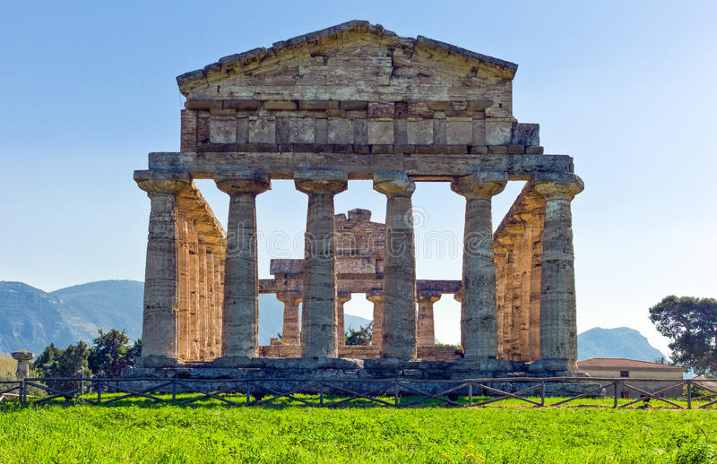 Cilento. Italy,Cilento, archaeological site of Paestum, the Temple of Athena olso known as Cerere Temple royalty free stock photography