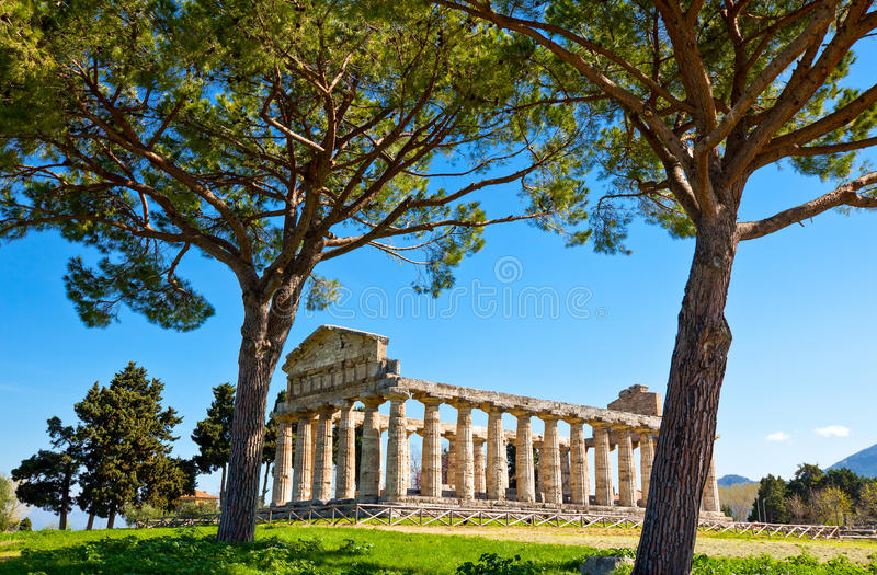 Cilento. Italy,Cilento, archaeological site of Paestum, the Temple of Athena olso known as Cerere Temple stock photography