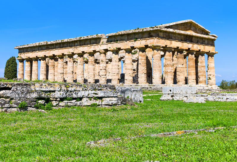 Cilento. Italy,Cilento, archaeological site of Paestum, the Temple of Neptune stock photos