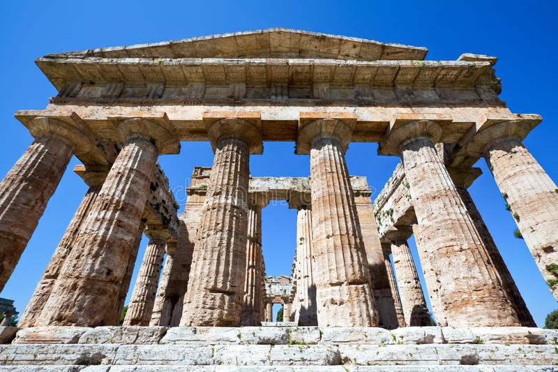Cilento. Italy,Cilento, archaeological site of Paestum, the Temple of Neptune royalty free stock photos