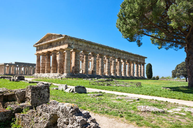Cilento. Italy,Cilento, archaeological site of Paestum, the Temple of Neptune stock photography