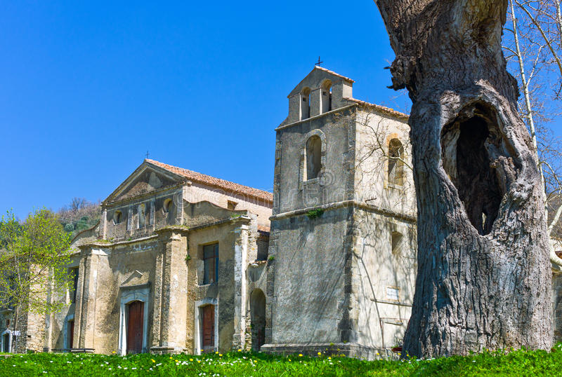 Cilento. Italy,Cilento, the church of the abandoned old quarter royalty free stock photo