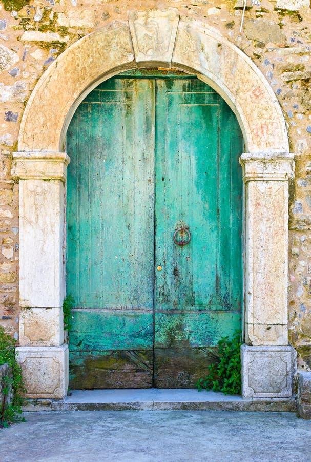 Cilento. Italy,Cilento, a door of the abandoned old quarter of Roscigno Vecchia, detail stock photo