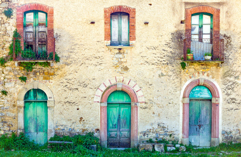 Cilento. Italy,Cilento, the houses of abandoned old quarter of Roscigno Vecchia stock images