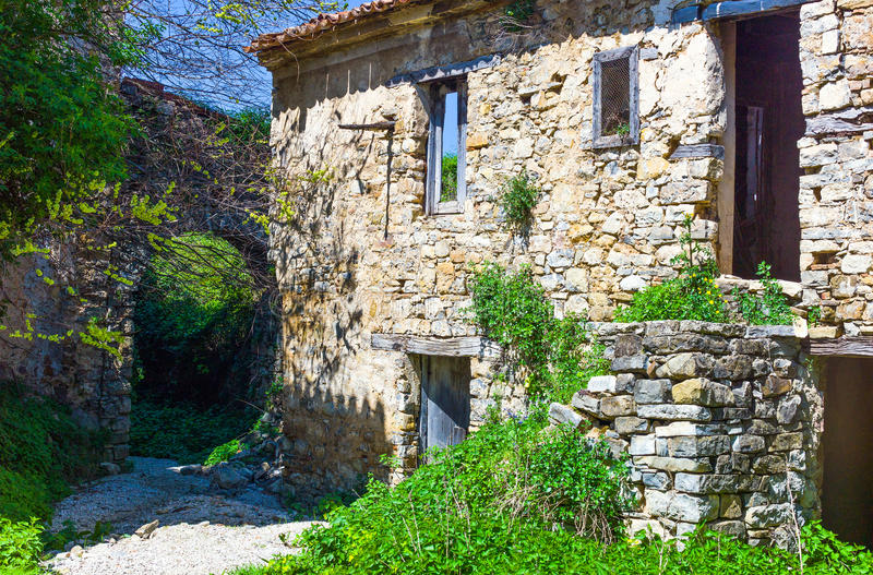 Cilento. Italy,Cilento, the houses of abandoned old quarter of Roscigno Vecchia royalty free stock photo
