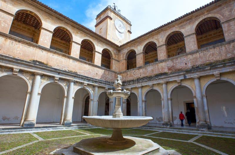 Cilento. Italy,Cilento, Padula, the Certosa of San Lorenzo, the cloister royalty free stock image