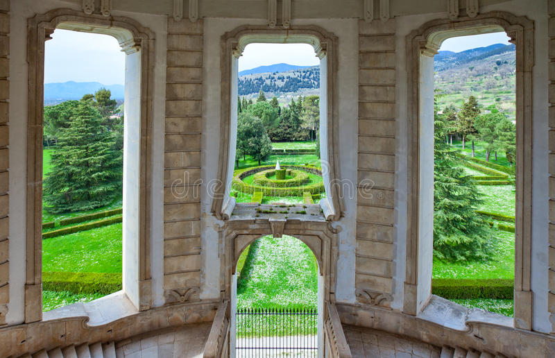 Cilento. Italy,Cilento, Padula, the flight of steps of the great cloister of the Certosa of San Lorenzo stock photography