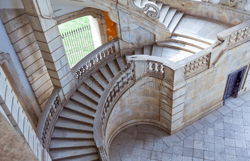 Cilento. Italy,Cilento, Padula, the flight of steps of the great cloister of the Certosa of San Lorenzo stock photos