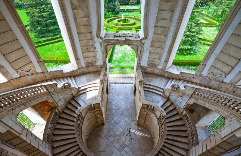 Cilento. Italy,Cilento, Padula, the flight of steps of the great cloister of the Certosa of San Lorenzo royalty free stock photos