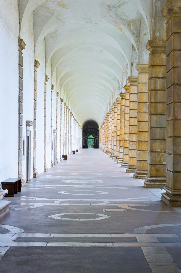 Cilento. Italy,Cilento, Padula, the porch of the great cloister of the Certosa of San Lorenzo royalty free stock photos