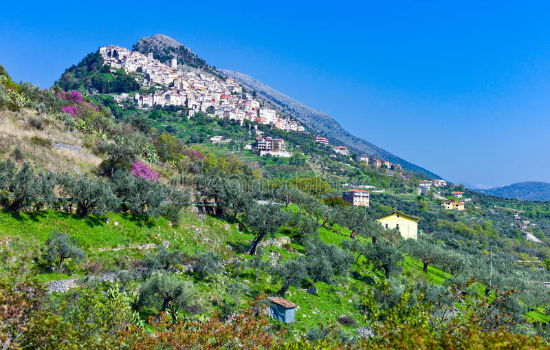 Cilento. Italy,Cilento, panoramic view of Castelcivita over the countryside stock images