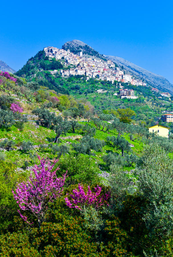 Cilento. Italy,Cilento, panoramic view of Castelcivita over the countryside royalty free stock image