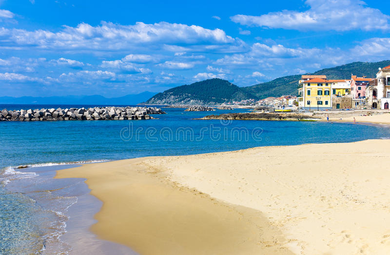 Cilento. Italy,Cilento, Santa Maria di Castellabate, the beach with the country in the background stock photo